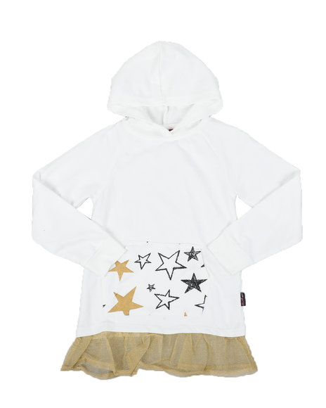 Delia's Girl - Star Print Kangaroo Pocket Peplum Hooded Top (7-16)