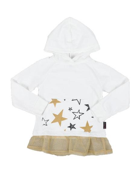 Delia's Girl - Star Print Kangaroo Pocket Peplum Hooded Top (4-6X)