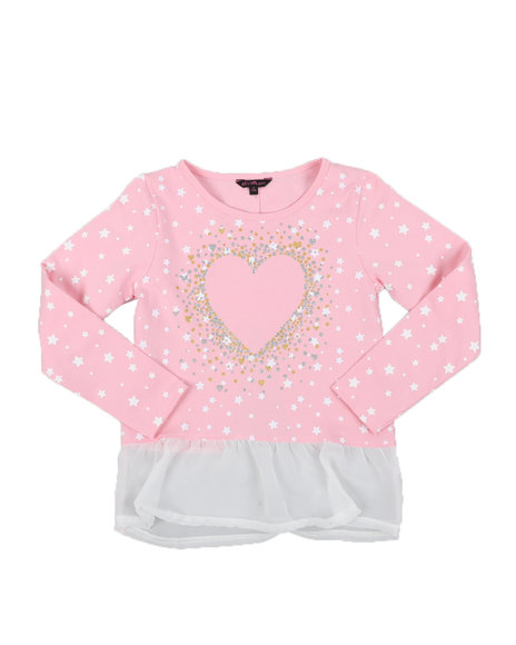 Delia's Girl - Heart Hacci Bow Back Long Sleeve Top (7-16)