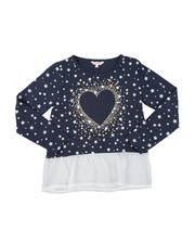 Girls - Heart Hacci Bow Back Long Sleeve Top (7-16)-2576144