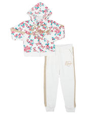 Girls - 2 Pc Floral Zip Up Hoodie & Jogger Pants Set (4-6X)-2577080