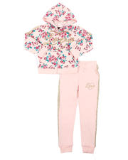 Girls - 2 Pc Floral Zip Up Hoodie & Jogger Pants Set (4-6X)-2577117