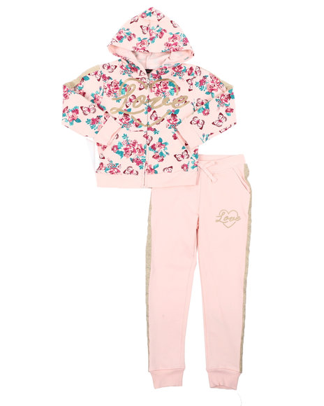 Delia's Girl - 2 Pc Floral Zip Up Hoodie & Jogger Pants Set (4-6X)