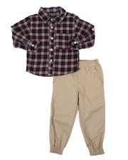 Sets - 2 Pc Plaid Button Down Flannel Shirt & Twill Jogger Pants Set (2T-4T)-2577141