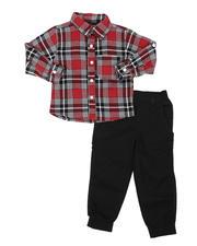Sets - 2 Pc Plaid Button Down Flannel Shirt & Twill Jogger Pants Set (2T-4T)-2577145
