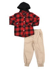Sets - 2 Pc Plaid Hooded Button Down Flannel Shirt & Twill Jogger Pants Set (2T-4T)-2577149