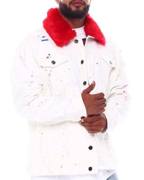 Makobi - Faux Fur Collar Paint Splatter Denim Jacket (B&T)