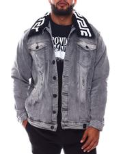 Outerwear - Greek Key Sherpa Collar Denim Jacket (B&T)-2576971