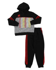 Arcade Styles - 2 Pc Legend Repeat Graphic Fleece Pullover Hoodie & Jogger Pants Set (4-7)-2577684