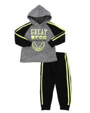 Sets - 2 Pc Great Color Block Pullover Hoodie & Solid Jogger Pants Set (2T-4T)-2577627
