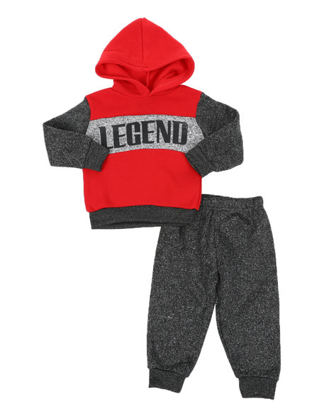 Arcade Styles - 2 Pc Awesome Color Block Pullover Hoodie & Solid Jogger Pants Set (Infant)
