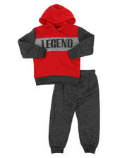 Sets - 2 Pc Awesome Color Block Pullover Hoodie & Solid Jogger Pants Set (2T-4T)-2577652