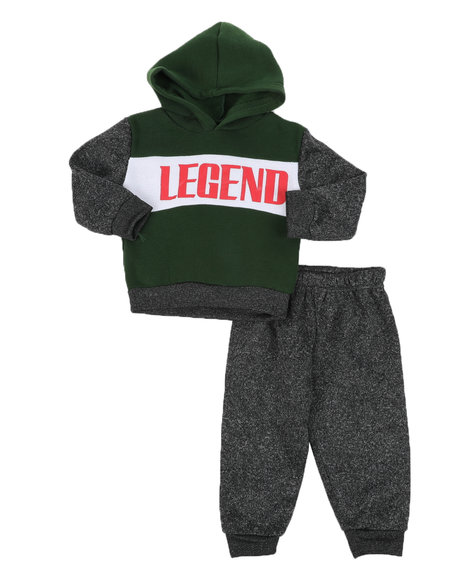 Arcade Styles - 2 Pc Awesome Color Block Pullover Hoodie & Solid Jogger Set (Infant)