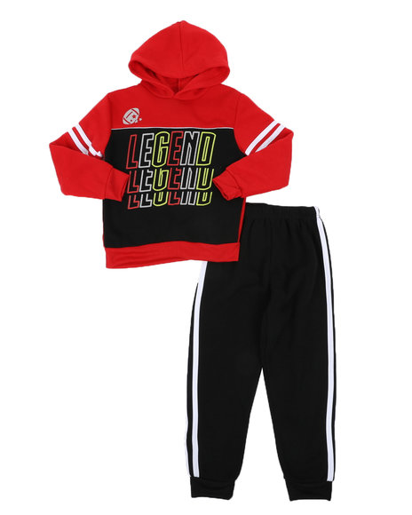 Arcade Styles - 2 Pc Legend Repeat Graphic Fleece Pullover Hoodie & Jogger Pants Set (4-7)