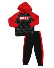 Sets - 2 Pc Roar Dino Print Fleece Pullover Hoodie & Jogger Pants Set (2T-4T)-2577710