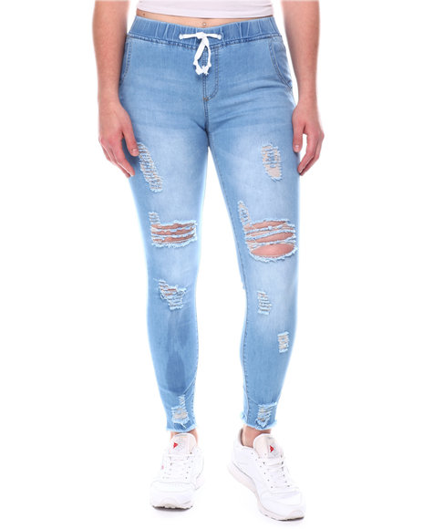 Fashion Lab - Exposed Button  Frayed Fly High Rise Jeans