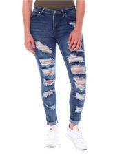 Bottoms - Distressed Roll Cuff Jeans-2579652