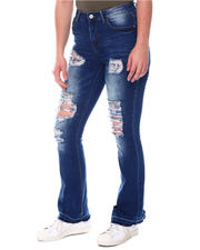 Bottoms - Distressed Bell Bottom Jeans-2579694