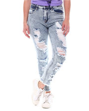 Bottoms - Acid Wash Distressed Jeans-2578755
