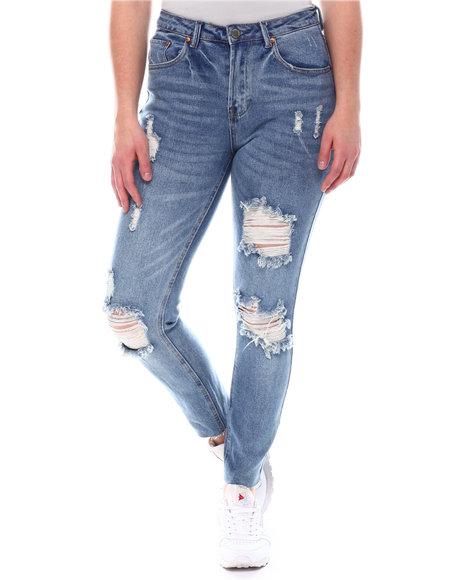 Fashion Lab - High Waist Distressed Jeans