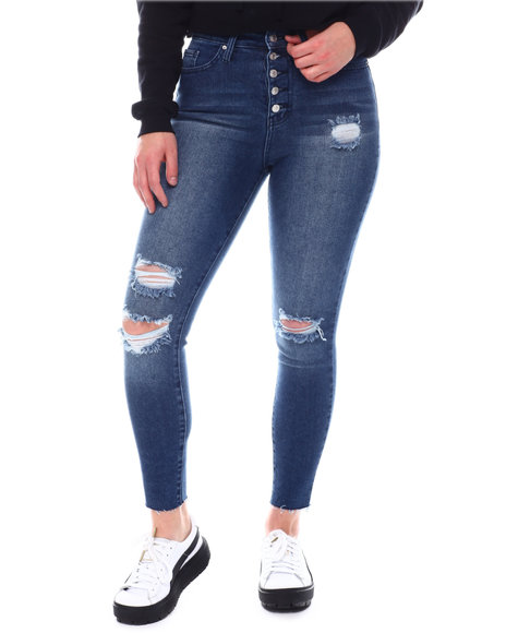 Fashion Lab - Exposed Button Distressed Jeans