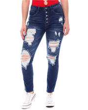 Bottoms - Vintage Dream Exposed Button Skinny W/Rips-2579217