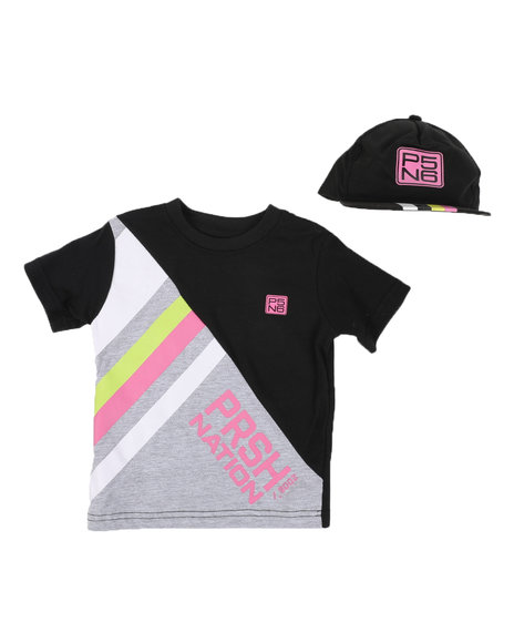 Parish - 2 Pc Stripe Color Block T-Shirt & Cap Set (2T-4T)