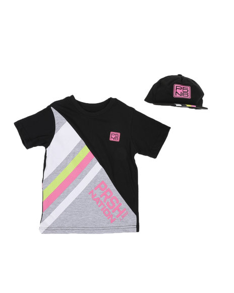 Parish - 2 Pc Stripe Color Block T-Shirt & Cap Set (8-20)