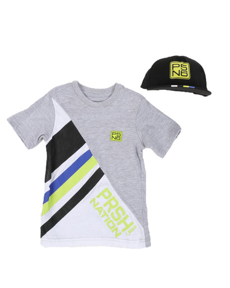 Parish - 2 Pc Stripe Color Block T-Shirt & Cap Set (8-20)