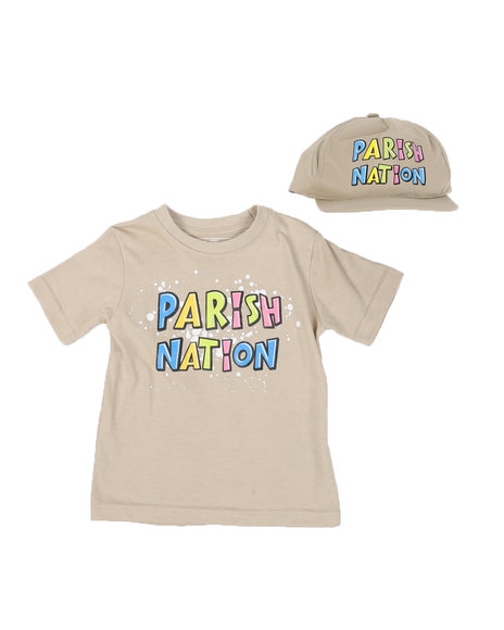 Parish - 2 Pc Parish Print Splatter Print T-Shirt & Cap Set (2T-4T)