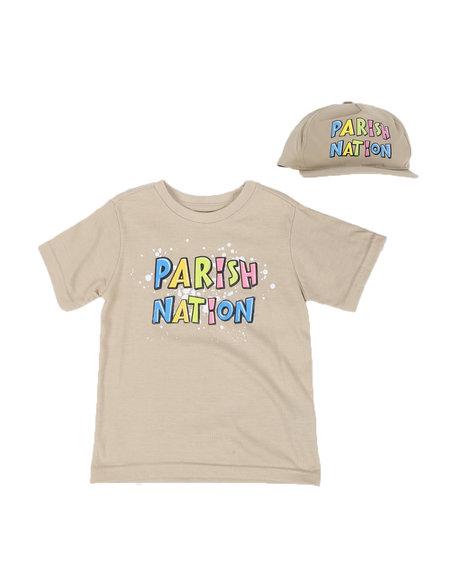 Parish - 2 Pc Parish Print Splatter Print T-Shirt & Cap Set (8-20)