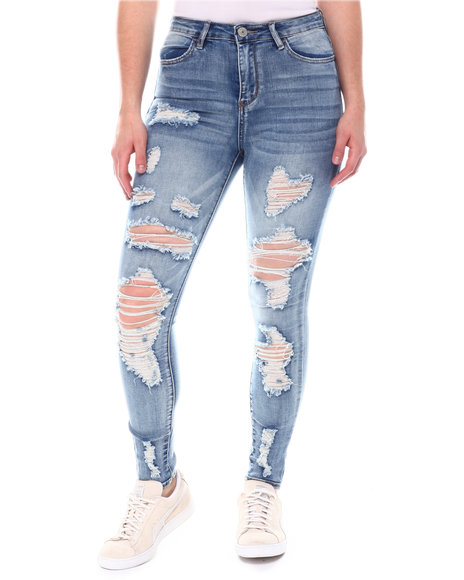 Almost Famous - Distressed High  Waist Jeans