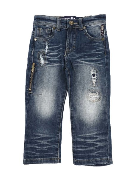 Born Fly - Distressed Zipper Side 5 Pocket Jeans (2T-4T)
