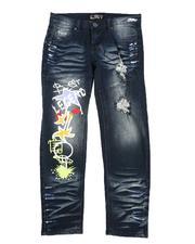 Jeans - Graffiti Print Distressed Jeans (8-16)-2579593