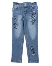 Girls - Floral Embroidery Skinny Jeans (4-6X)-2580761
