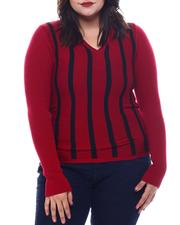 Fashion Lab - Plus Long Sleeve Stripe Front Sweater-2565068