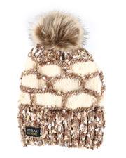 Fashion Lab - Thermal Fleece Lined Insulated Knit Beanie W/ Pom-2582004