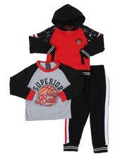 Boys - 3 Pc Superior Long Sleeve Tee, Full Zip Color Block Hoodie & Jogger Pants Set (4-7)-2577909