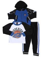 Boys - 3 Pc Superior Long Sleeve Tee, Full Zip Color Block Hoodie & Jogger Pants Set (4-7)-2577895