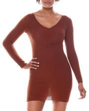 Dresses - V-Neck Sweater Dress W/C.F Shirring Detail-2582684