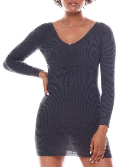 Fashion Lab - V-Neck Sweater Dress W/C.F Shirring Detail