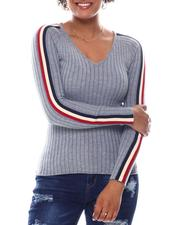 Sweaters - V-Neck Sweater  W/ Contrast Color Stripe Sleeve-2582723