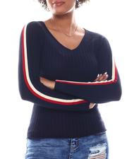 Sweaters - V-Neck Sweater  W/ Contrast Color Stripe Sleeve-2582731