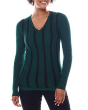 Women - Long Sleeve Stripe Front Sweater-2582575