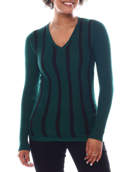 Fashion Lab - Long Sleeve Stripe Front Sweater