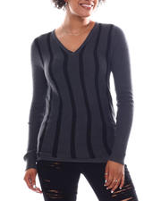 Women - Long Sleeve Stripe Front Sweater-2582599
