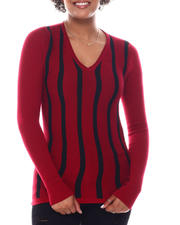 Women - Long Sleeve Stripe Front Sweater-2582613