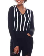 Women - Long Sleeve Stripe Front Sweater-2582639