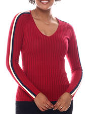Women - V-Neck Sweater  W/ Contrast Color Stripe Sleeve-2582694