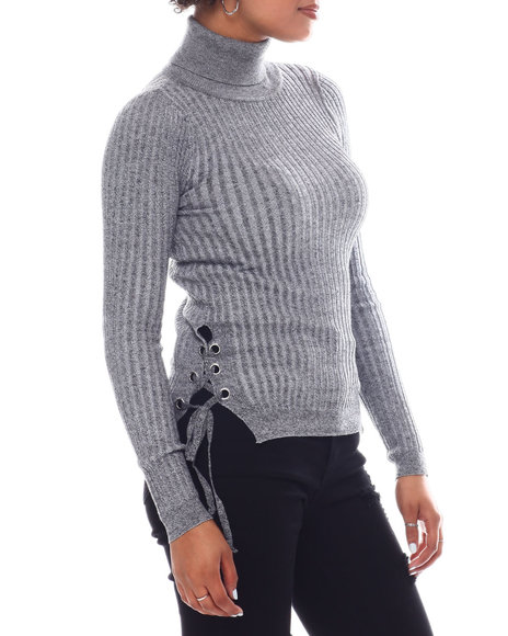 Fashion Lab - Turtleneck Sweater  W/Side Bottom Lace Up Detail